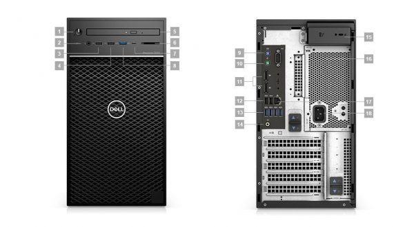 Dell Precision Tower 3630 CTO BASE - E2124_T3630-E2124-8-1TB-Fedora-WX3100-3Y 42PT3630D06 (Mini Tower)
